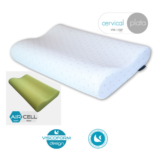 Almohada cervical Visoelástica extra transpirable, ergonomica para el cuidado de las cervicales y de acogida muy suave. Para gourmets del descanso